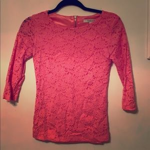 Forever 21 pink lace zippered back blouse